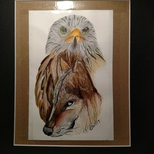Matted 11 x 14 watercolor 🦅 wolf